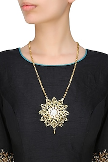 Gold Plated Pearls And Onyx Stone Flower Filigree Pendant Necklace by Maira