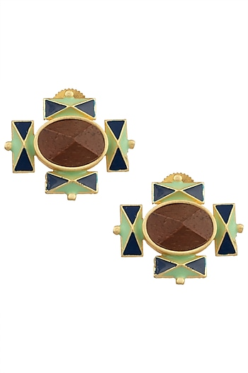 Gold Plated 3D Cut Wooden Stud Earrings by Madiha Jaipur