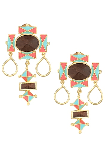 Gold Plated 3D Cut Blue and Pink Earrings by Madiha Jaipur