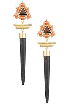 Gold Plated 3D Cut Wooden Dangler Earrings by Madiha Jaipur