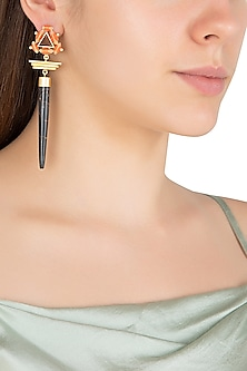 Gold Plated 3D Cut Wooden Dangler Earrings by Madiha Jaipur