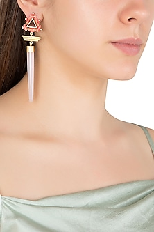 Gold Plated 3D Cut Wooden Pyramid Dangler Earrings by Madiha Jaipur