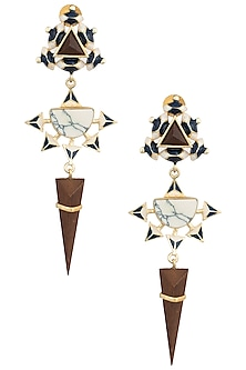 Gold Plated 3D Cut Blue and White Dangler Earrings by Madiha Jaipur