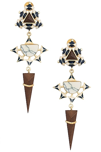 Gold Plated 3D Cut Blue and White Dangler Earrings by Madiha Jaipur