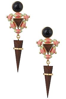 Gold Plated 3D Cut Black Glitter Earrings by Madiha Jaipur