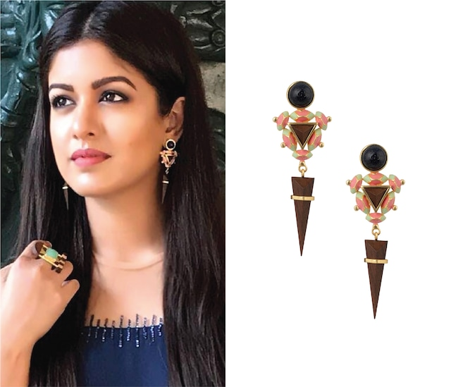 Gold Plated 3D Cut Black Glitter Earrings by Madiha Jaipur