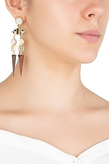 Gold Plated 3D Cut Mother Of Pearl Earrings by Madiha Jaipur
