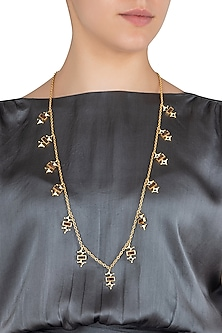 Gold Plated 3D Cut Wooden Necklace by Madiha Jaipur