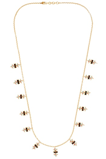 Gold Plated 3D Cut Wooden Pink and Blue Necklace by Madiha Jaipur