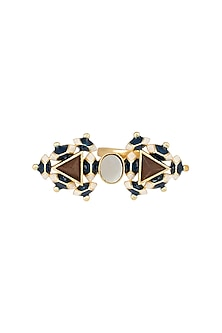 Gold Plated 3D Cut Twin Pyramid Ring by Madiha Jaipur