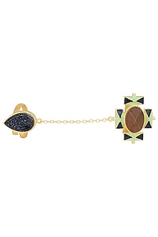 Gold Plated 3D Cut Wooden Black Glitter Ring by Madiha Jaipur