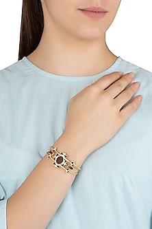 Gold Plated 3D Cut Wooden Hand Cuff by Madiha Jaipur
