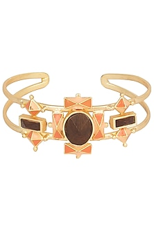 Gold Plated 3D Cut Peach and Orange Hand Cuff by Madiha Jaipur