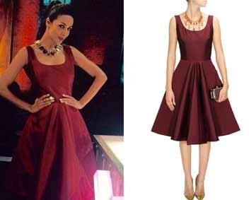 Burgundy bow circle dress by Neha Taneja