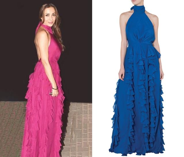 Blue ruffled gown by DEME BY GABRIELLA