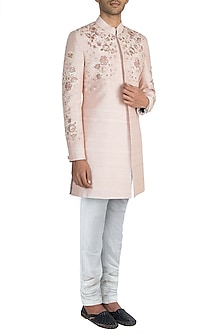 Blush Pink Embroidered Sherwani With Pants by Manish Malhotra Men
