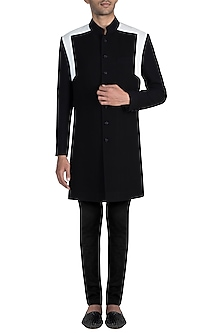 Black & Ivory Textured Sherwani Kurta With Churidaar Pants by Manish Malhotra Men