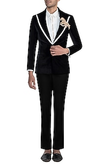 Black Velvet Embroidery Jacket With Pants & White Shirt by Manish Malhotra Men