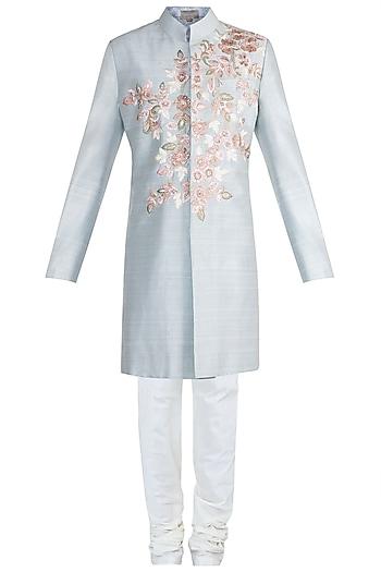 Powder Blue Embroidered Sherwani Jacket With Ivory Aligarhi Pants by Manish Malhotra Men