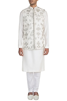 Ivory Embroidered Bundi Jacket With Kurta & Pants by Manish Malhotra Men