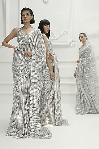 Ivory Sequins Embroidered Saree Set by Manish Malhotra