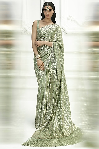 Moss Green Sequins Embroidered Saree Set by Manish Malhotra