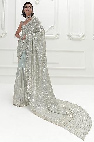Powder Blue Sequins Embroidered Saree Set by Manish Malhotra