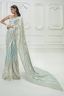 Light Turquoise & Gold Sequins Embroidered Saree Set by Manish Malhotra