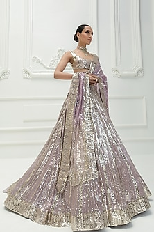 Lilac Embroidered Lehenga Set by Manish Malhotra
