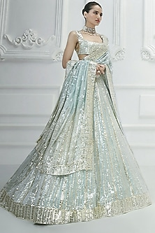 Baby Blue Embroidered Lehenga Set by Manish Malhotra