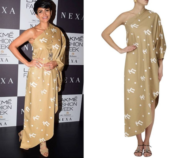 Khaki Script One Shoulder Dress by Masaba