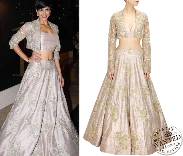 Stone rose embroidered lehenga with matching rosette jacket and bustier by Payal Singhal