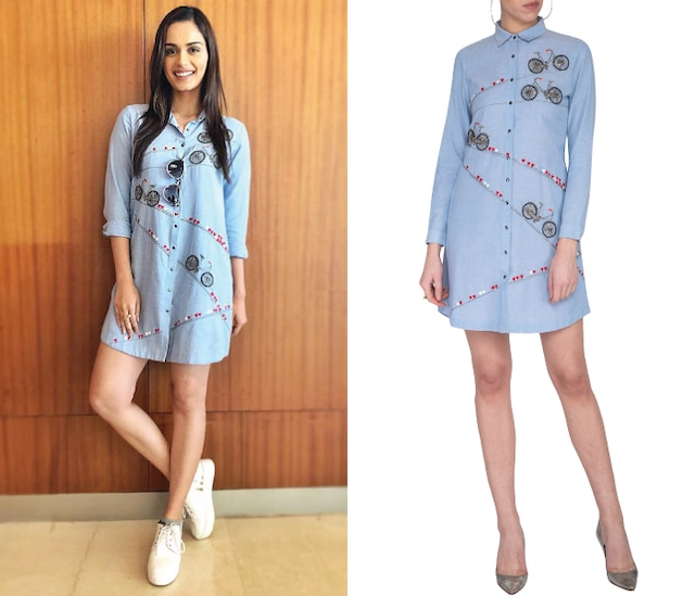 Light blue embroidered shirt dress by Shahin Mannan