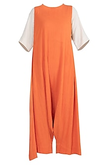 Orange Adjustable Dungarees by Mati