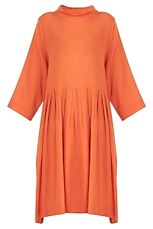 Orange Pleated Knee Length Dress by Mati