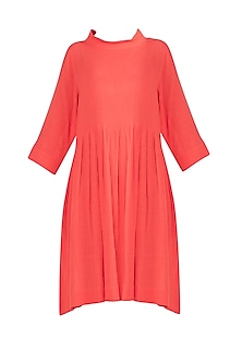 Coral Pleated Knee Length Dress by Mati
