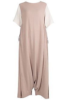 Khaki Anti Fit Tie-Up Dungaree by Mati