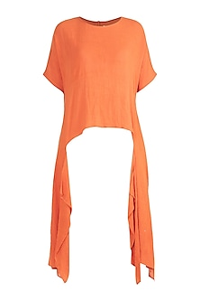 Orange Asymmetric Bohemian Top by Mati