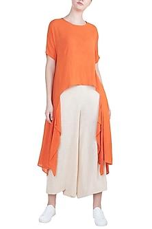 Orange Asymmetric Bohemian Top by Mati
