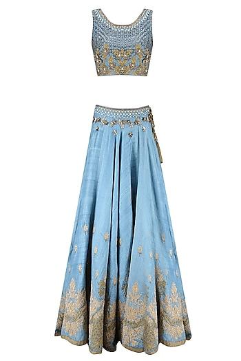 Blue Palatial Inspired Floral Embroidered Lehenga Set by Matsya