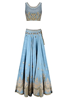 Blue Palatial Inspired Floral Embroidered Lehenga Set by Matsya