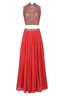 Red Floral Laser Cut and Mirror Work Blouse and Lehenga Set by Matsya
