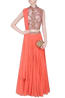 Peach Floral Laser Cut and Mirror Work Blouse and Lehenga Set by Matsya