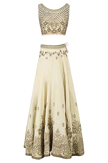 Cream Palatial Inspired Floral Embroidered Lehenga Set by Matsya