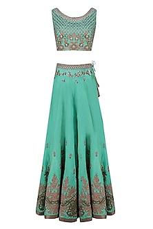 Green Palatial Inspired Floral Embroidered Lehenga Set by Matsya