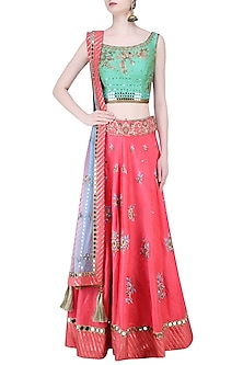 Green Zardozi Embroidered Floral Blouse and Lehenga Set by Matsya