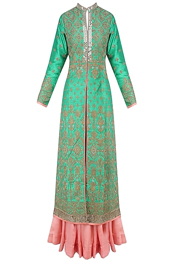 Green and Gold Floral Embroidered Sherwani Jacket and Peach Lehenga Set by Matsya