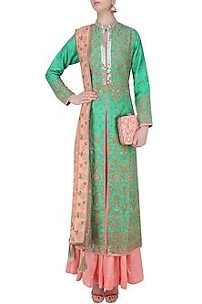 Green and Gold Floral Embroidered Sherwani Jacket and Peach Lehenga Set by Matsya