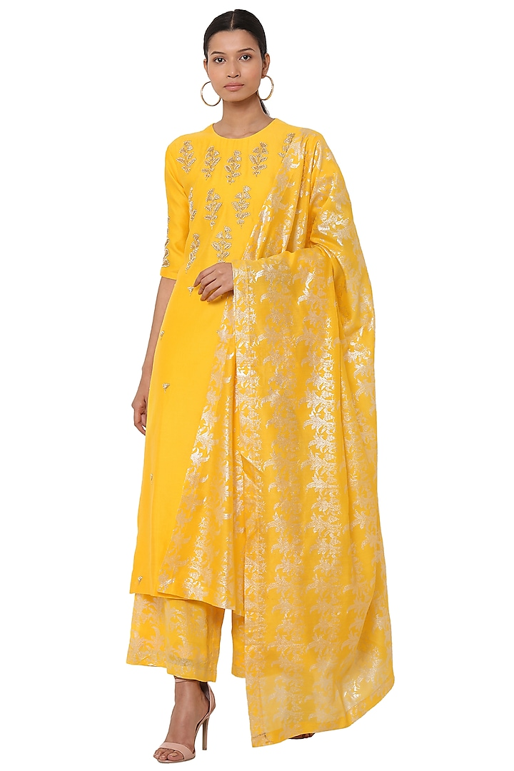 Yellow Embellished Kurta Set by Masaba