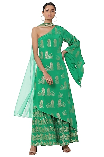 Green Printed One Shoulder Asymmetrical Tunic with Sharara Pants Set by Masaba